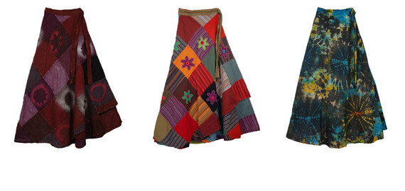 Wrap-arounds, in festive Tie Dye and Patchwork