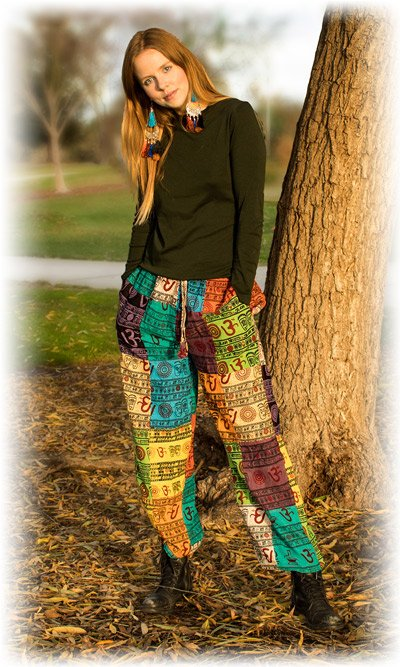 Multicolored Om Patchwork Boho Pants with Cuffed Ankles