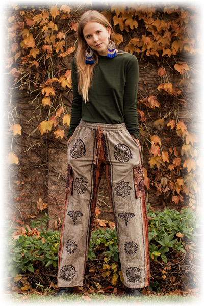 Bohemian Hippie Box Pocket Shamma Cotton Stonewash Unisex Trouser