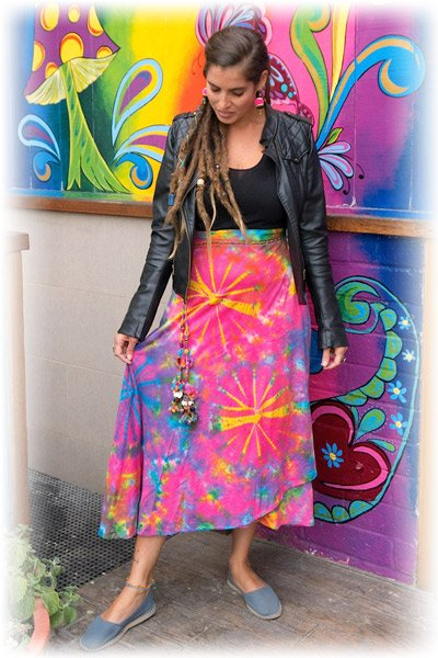Killarney Tie Dye Wrap Around Long Skirt