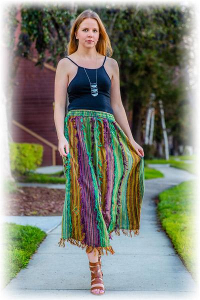 OCHENTA Little Big Girls Boho Flowing Costume Maxi Skirt