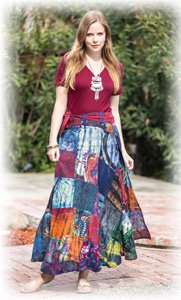 Mystic Mojo Wrap Around Patchwork Long Cotton Skirt