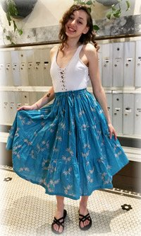 Psychic Dragonfly Cotton Summer Mid Length Skirt