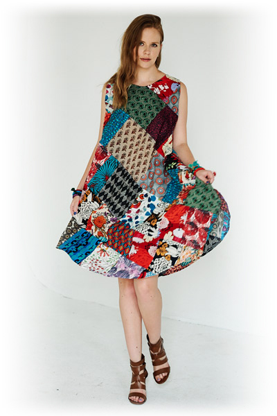 Multicolored Printed Patchwork Sleeveless Summer Dress