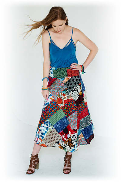 Paris Daisy Bohemian Wrap Around Skirt in Patchwork