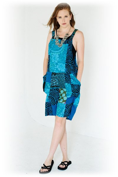 Azure Blue Boho Cotton Play Suit with Patchwork
