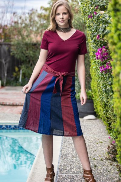 Vertical Panels Multicolored Cotton Knee Length Skirt
