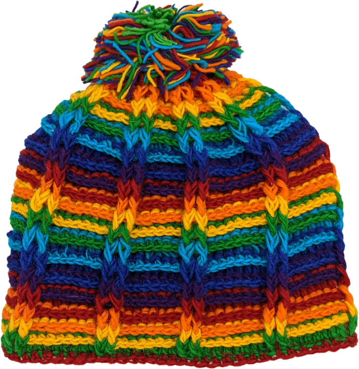 Rainbow Beanie Hat in Handwoven Wool