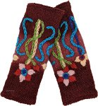 Deep Maroon Floral Embroidered Handwarmers