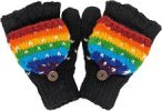 Rainbow Black Cover Gloves Handmade in Pure Wool