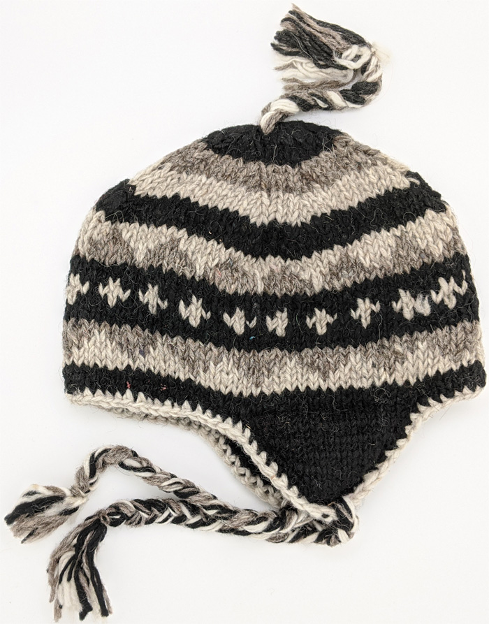 Pure Wool Hand Knitted Black and White Over The Ear Hat