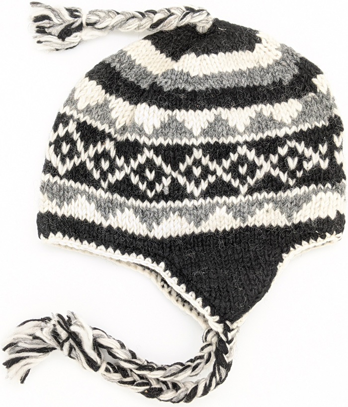 Hand Made Wool Black and White Hat