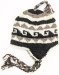 Woolen Hand Knitted Black and White Ear Covers Hat