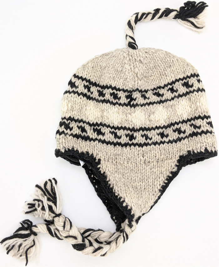 Hand Knitted Black and White Outdoors Hat