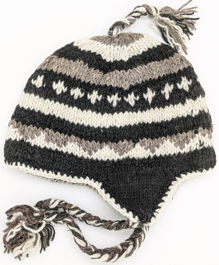 Shark Black Woolen Hand Knitted Black and White Ear Covers Hat