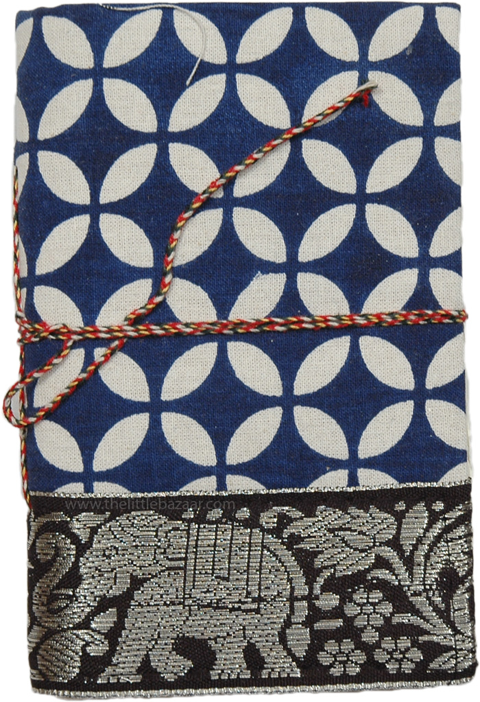 Navy Travel Fabric Notebook with Shiny Ribbon M