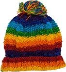 Cable Round Rainbow Beanie Hand Knit Woolen Hat