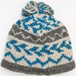 Pure Wool Hand Knitted Blue Ice Hat