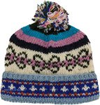 Pure Wool Handknit Blush Hat with Multicolored Pom