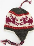Dune Grey Red Woolen Hand Knitted Hat