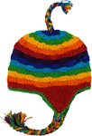 All Rainbow Winter Woolen Hat with Rainbow Tassels
