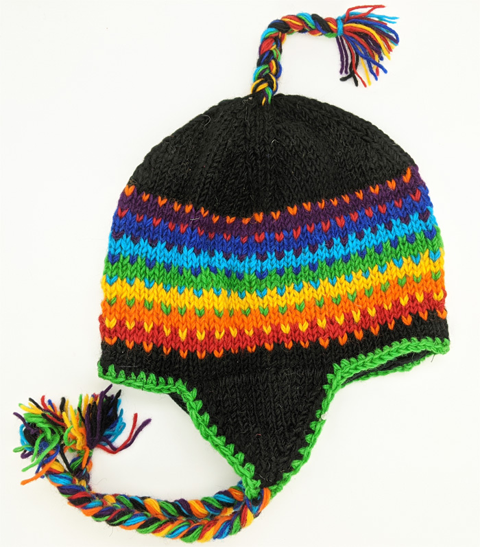 Rainbow Winter Woolen Hat in Black with Rainbow Tassels