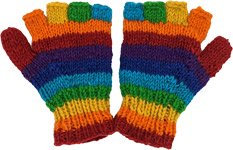 Pure Wool Rainbow Half Finger Gloves