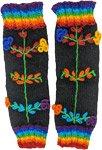 Rainbow Floral Black Woolen Leg Warmer Handmade
