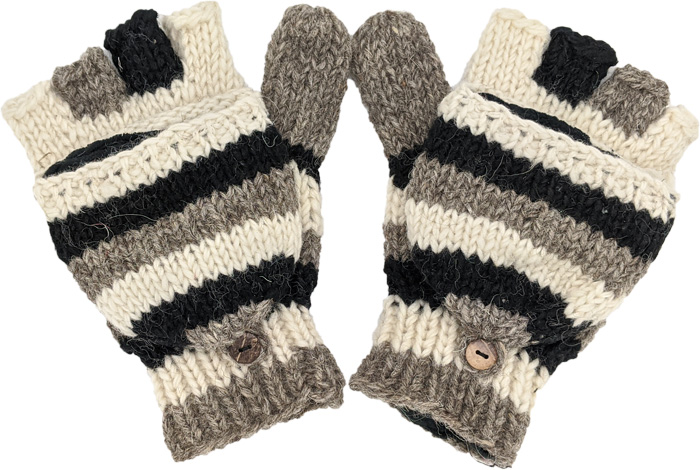 Black and White Cover Gloves Handmade in Pure Wool