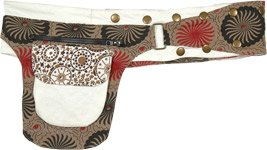 Printed Spice Brown Adjustable Snaps Belt Fanny Pack