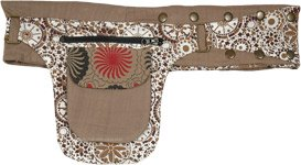Khaki White Fanny Pack Belt with Adjustable Snaps