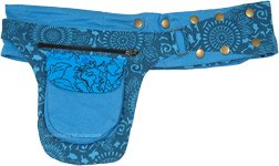 Island Blue Floral Pocket Belt with Adjustable Snaps