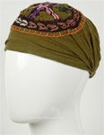 Hippie Peace Embroidered Headband in Desert Green