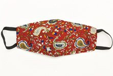 Red Paisley 3 Ply Face Mask Cover