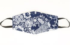 Navy White Floral Print Face Mask