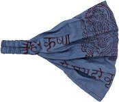 Blue Om Boho Cotton Headband
