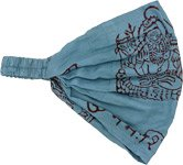 Light Blue Om Bohemian Cotton Head Band