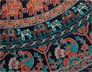 Handmade Elephant and Animals Print Tapestry Full