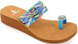 Bamboo Blue Boho Chic Toe Ring Wedge Sandal