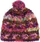 Strawberry Pink Wool Silk Medley Winter Hat with Pom Pom