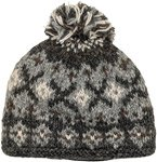 Classic Grey Hand Knit Wool Hat with Pompom