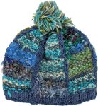 Turquoise Blue Wool and Fabric Beanie Hat with Pompom