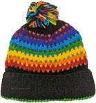 Rainbow Winter Woolen Hat in Black with Rainbow Pom