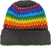 Rainbow Winter Woolen Beanie Hat in Black
