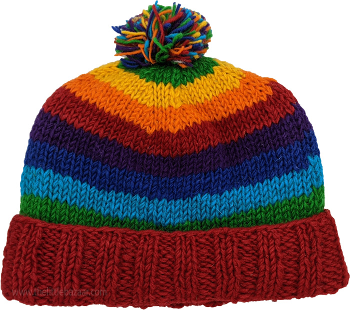 Red Rainbow Beanie Hand Knit Woolen Hat