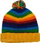 Yellow Rainbow Beanie Hand Knit Woolen Hat