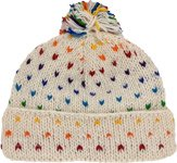 White Rainbow Dust Wool Hat with Colorful Pompom