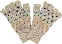 White Wool Half Gloves with Rainbow Pattern