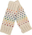 White Wool Leg Warmers with Rainbow Sprinkles