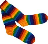 Hand Knit Rainbow Wool Socks